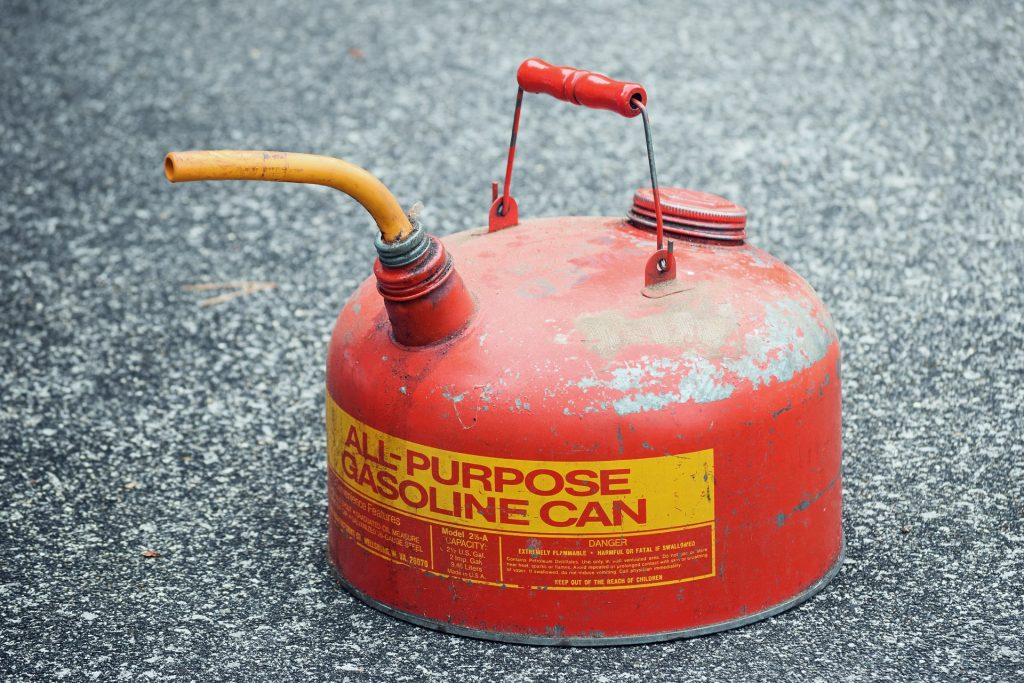 Picture of a gasoline container. This blog post tells you how to dispose of bad or old gasoline.