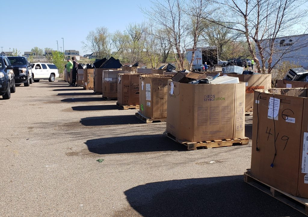 Picture of recycling bins at a Certified Recycling cleanup event.