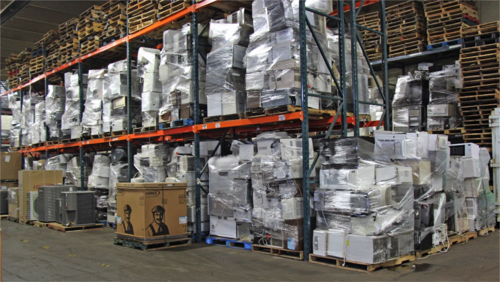 Picture of the inside of the Certified Recycling warehouse.