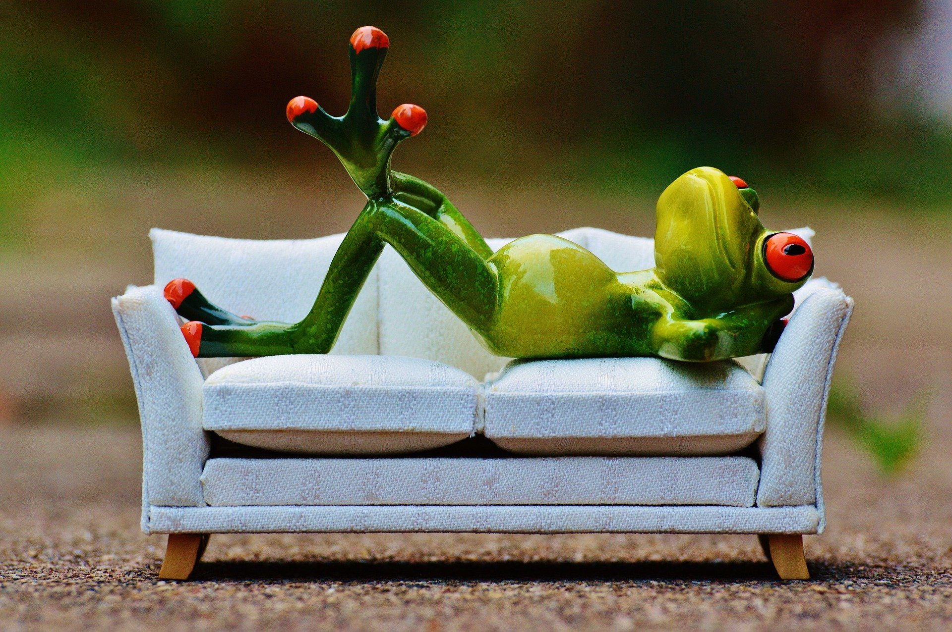 Picture of a plastic frog being lazy on a couch.